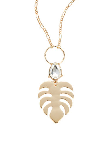 Expression Stone Leaf Pendant Necklace-GOLD-One Size