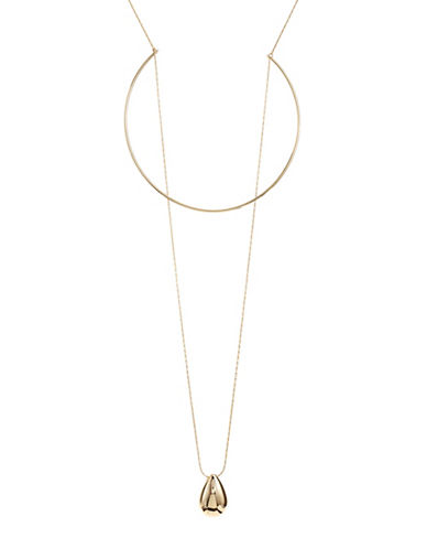Expression Circle Metal and Teardrop Pendant Necklace-GOLD-One Size