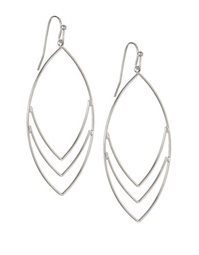 Expression Chevron Drop Hoop Earrings-SILVER-One Size