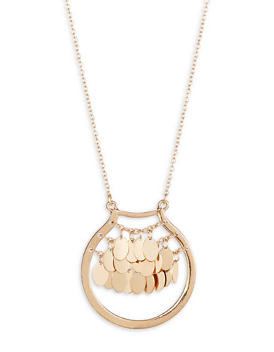 Expression Dangly Disc Ring Pendant Necklace-GOLD-One Size