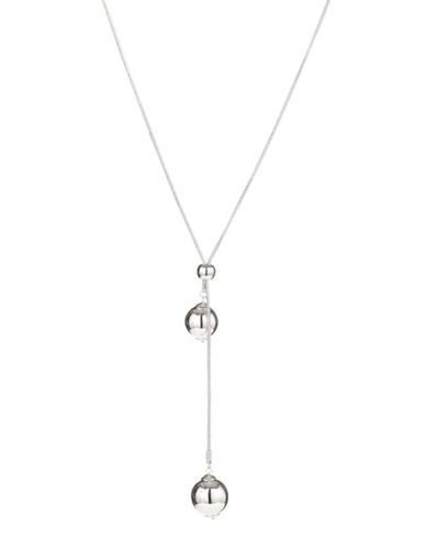 Expression Two Drop Ball Pendant Necklace-CLEAR-One Size