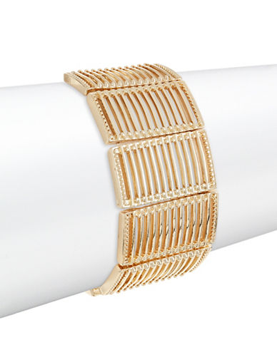 Expression Rectangle Link Stretch Bracelet-GOLD-One Size