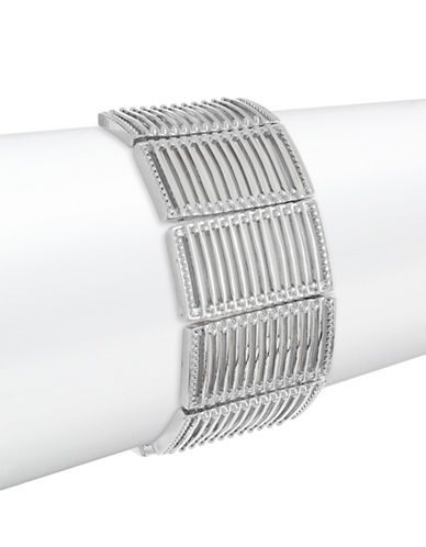 Expression Rectangle Link Stretch Bracelet-SILVER-One Size