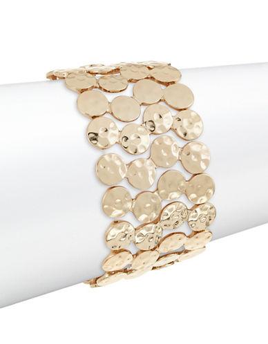 Expression Hammered Disc Stretch Bracelet-GOLD-One Size