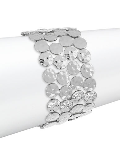Expression Hammered Disc Stretch Bracelet-SILVER-One Size