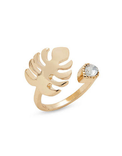 Expression Leaf Stone Wrap Ring-GOLD-7