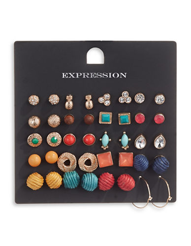 Expression Twenty Pack Stud Earrings-ASSORTED-One Size