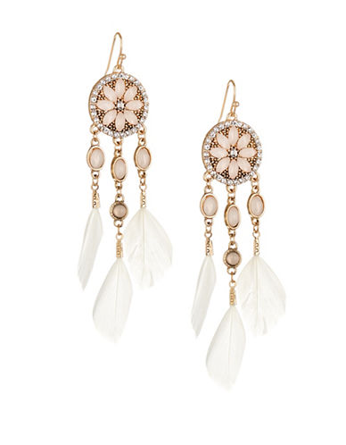 Expression Flower Disc and Feather Drop Earrings-PINK-One Size