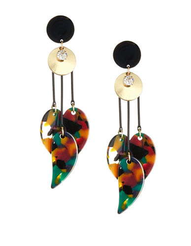 Expression Double-Disc Drop Earrings-MULTI-One Size
