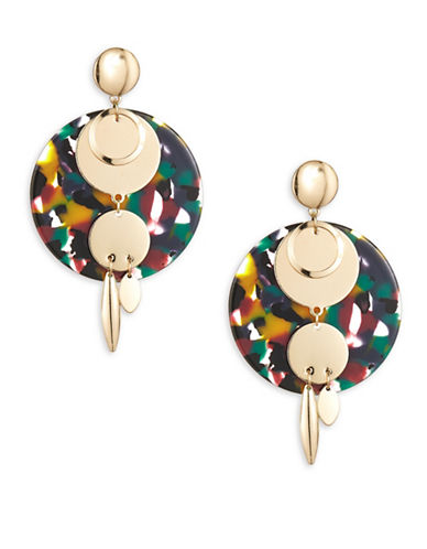 Expression Disc and Linear Drop Earrings-MULTI-One Size