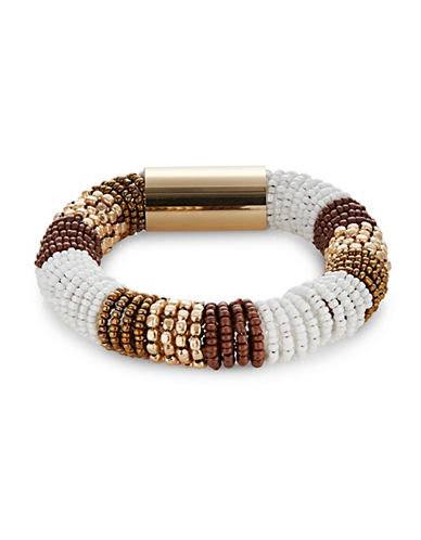 Expression Banded Seedbead Coil Bracelet-BROWN-One Size