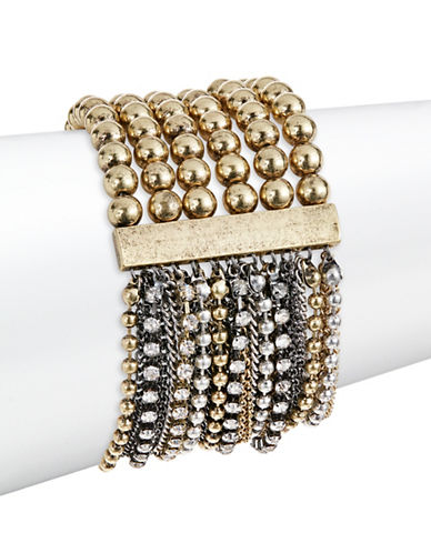 Expression Beads and Chains Stretch Bracelet-GOLD-One Size