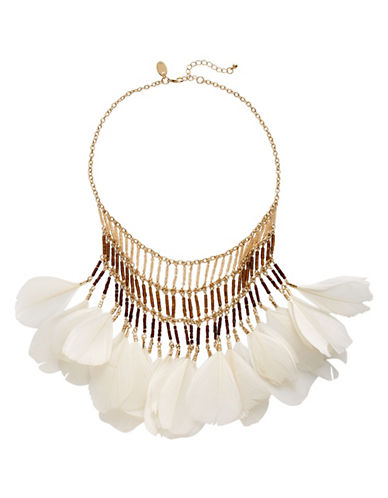 Expression Beaded Feather Necklace-WHITE-One Size