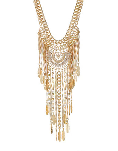 Expression Leaf and Bead Curb Chain Necklace-GOLD-One Size