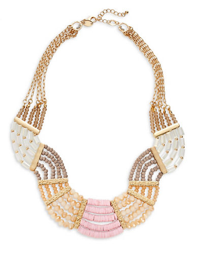 Expression Multi-Bead Wave Necklace-PINK-One Size