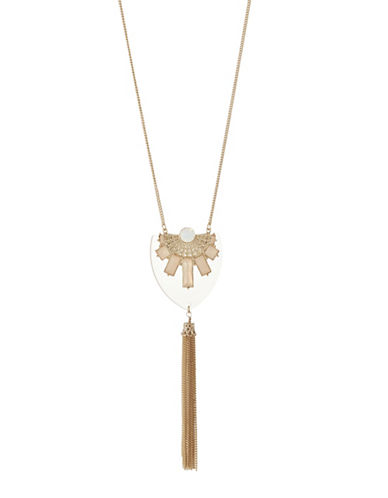 Expression Square Stones On Tassel Necklace-PINK-One Size