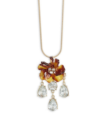 Expression Flower Pendant Necklace-BROWN-One Size