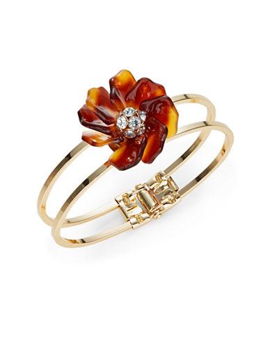 Expression Flower Hinged Bangle Bracelet-BROWN-One Size