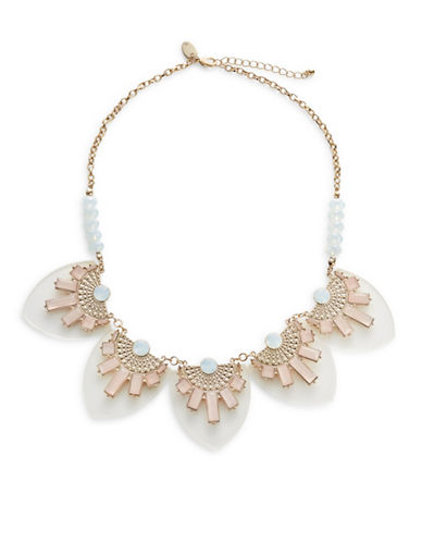 Expression Perspex Faceted Square Stone Statement Necklace-PINK-One Size