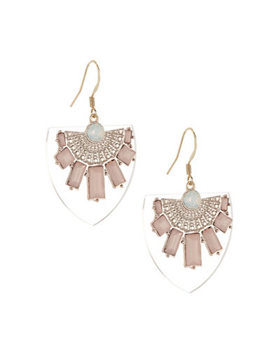 Expression Lucite Pendant Earrings-PINK-One Size