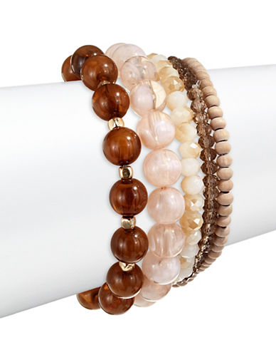 Expression Five Pack Beaded Bracelet Set-BROWN-One Size