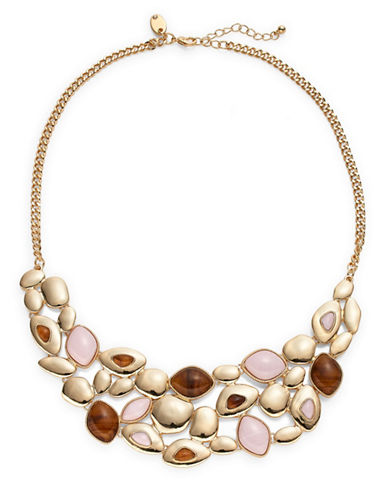 Expression Marble Stone Statement Necklace-BROWN-One Size