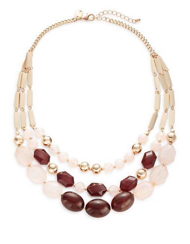 Expression Three-Row Beaded Statement Necklace-BROWN-One Size