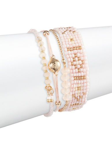 Expression Four-Piece Beaded Bracelet Set-PINK-One Size