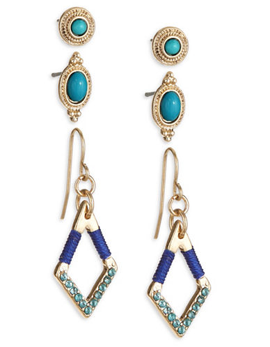 Expression Three-Pair Stud and Drop Earring Set-BLUE-One Size