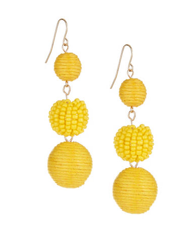 Expression Thread and Bead Triple-Drop Earrings-YELLOW-One Size