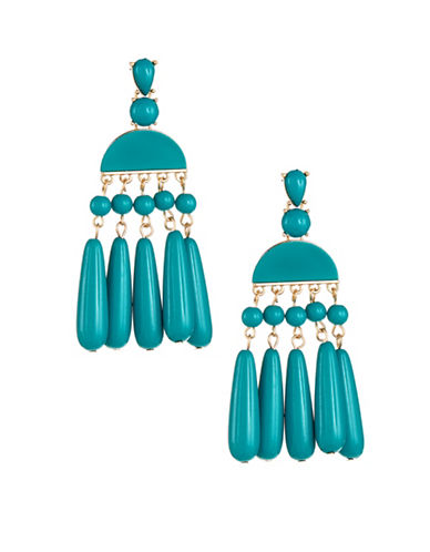 Expression Half Moon Bead Drop Earrings-BLUE-One Size