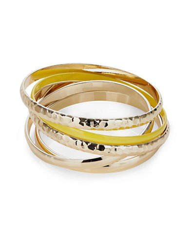 Expression Five-Pack Hammered Goldtone and Plain Bracelet-YELLOW-One Size