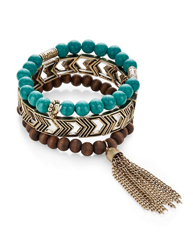 Expression Three-Pack Bead and Tassel Stretch Bracelet Set-BLUE-One Size