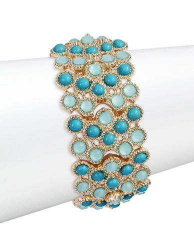 Expression Mixed Stone Stretch Bracelet-BLUE-One Size