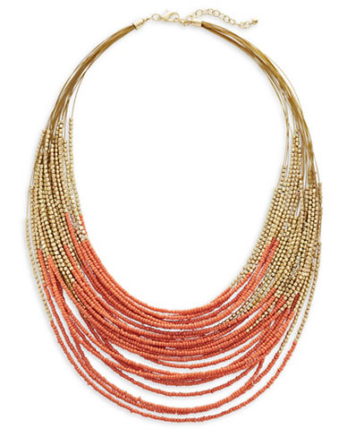 Expression Multi-Row Seed Bead Necklace-ORANGE-One Size