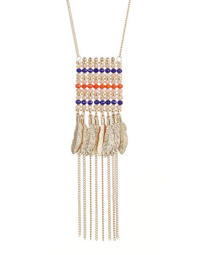 Expression Beaded Feather Fringe Pendant Necklace-ORANGE-One Size