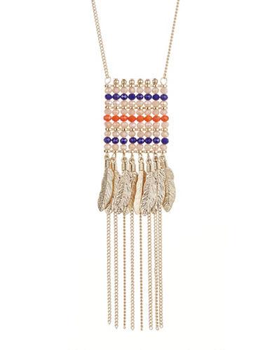 Expression Beaded Feather Fringe Pendant Necklace-ORANGE-One Size