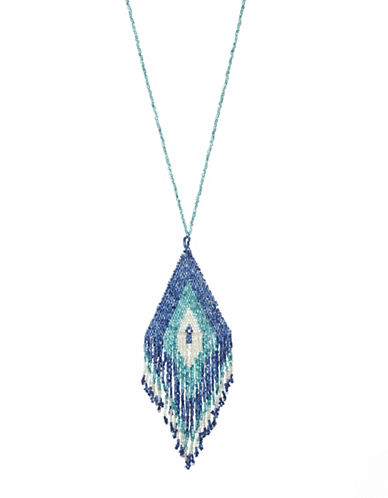 Expression Seed Bead Triangle Pendant Necklace-BLUE-One Size