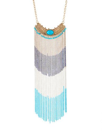 Expression Cascade Fringe Necklace-BLUE-One Size