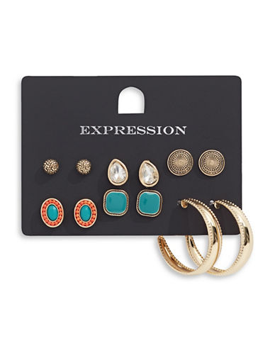 Expression Six-Pair Stud and Hoop Earring Set-ASSORTED-One Size
