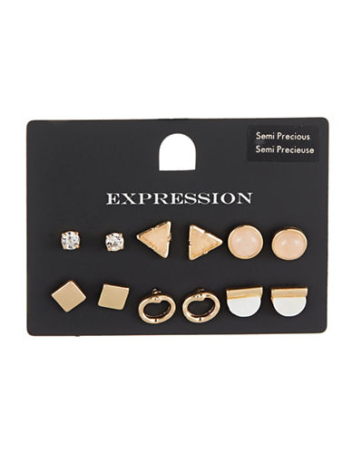 Expression Six-Pack Stone Stud Earring-GOLD-One Size