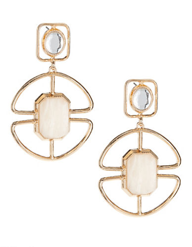 Expression Cut-Out Medallion Drop Earrings-PINK-One Size