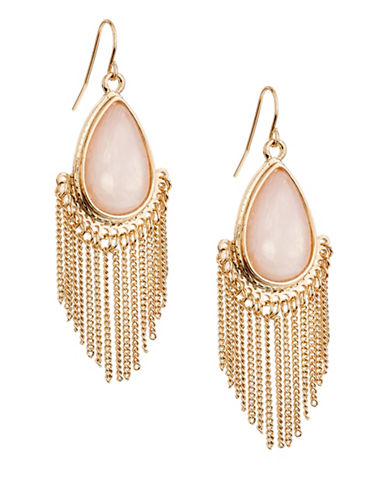 Expression Semi-Precious Teardrop Earrings with Fringes-PASTEL-One Size