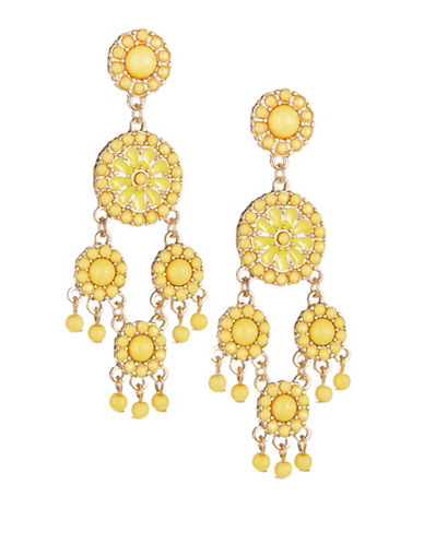 Expression Flower Disc Chandelier Earrings-YELLOW-One Size