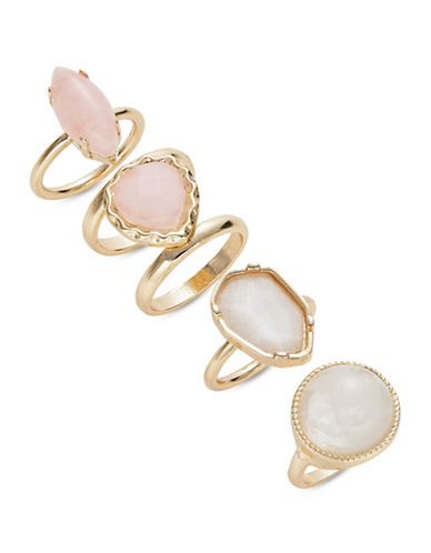 Expression Four-Piece Semi-Precious Ring Set-PINK-8