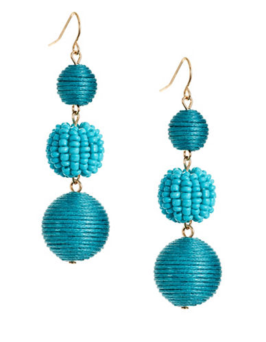 Expression Three-Drop Bead Earrings-TURQUOISE-One Size