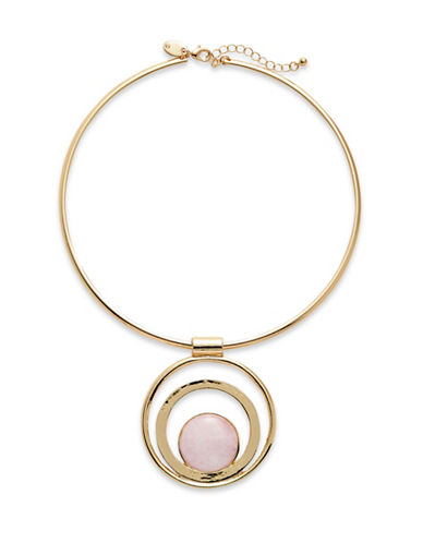 Expression Semi-Precious Stone Torq Necklace-PINK-One Size