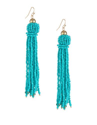 Expression Beaded Tassel Drop Earrings-BLUE-One Size