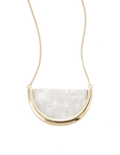 Expression Long Half Disc Pendant Necklace-BEIGE-One Size