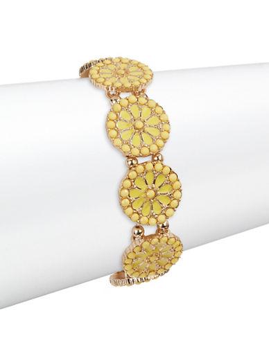 Expression Flower Disc Stretch Bracelet-YELLOW-One Size